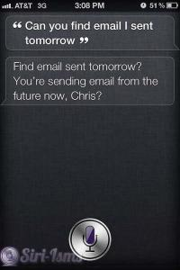 Can You Fins Email I Sent Tomorrow? - Siri Responds