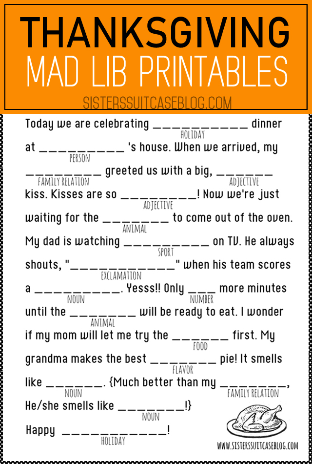 Thanksgiving Mad Libs Printable - My Sister\u0027s Suitcase - Packed with