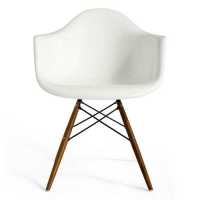 Lorena Fiberglass Arm Chair - White Gloss/Walnut/Ss