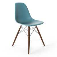 Lorena Fiberglass Side Chair -Blue Matte/Walnut/Ss ...