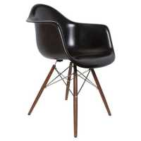 Lorena Fiberglass Arm Chair - Black Matt/Walnut/Ss