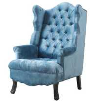 Deborah Blue Velvet Wing Chair