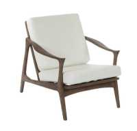Derrick Lounge Chair - White Leather/ Walnut - Lounge ...