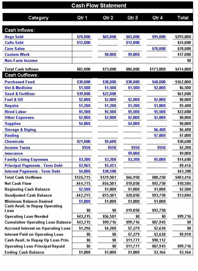 Financial Analysis of an Agricultural Business \u2013 the Cash Flow Statement