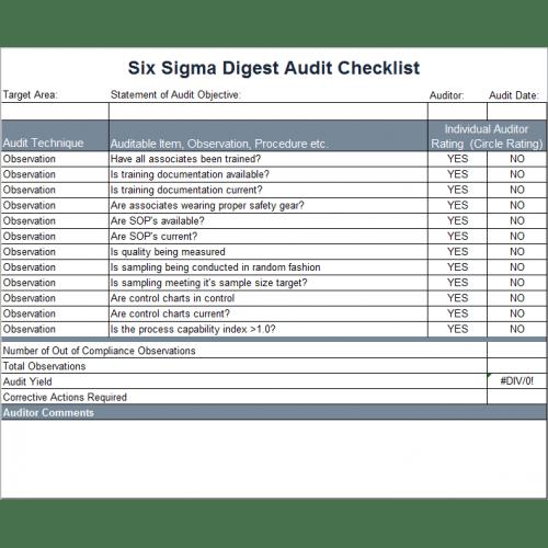 Checklist Template For Internal Audit – Audit Checklist Template