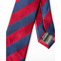 Burgundy / Navy Stripe Silk Skinny Tie - Skinny Silk Ties ...