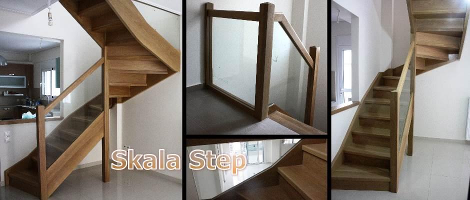 Μοντέρνες κατασκευές ποιότητας σε εσωτερικές σκάλες σπιτιών. συνδυασμός ξύλου δρυ με γυαλί ασφαλείας σε γωνιακή εναέρια σκάλα οικίας.