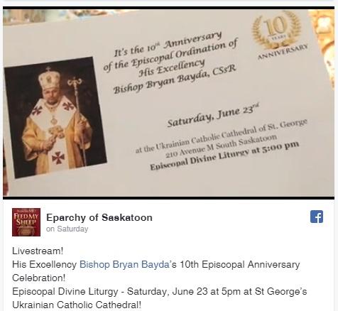 Bishop Bryan Bayda, CSsR, Eparch skeparchyorg
