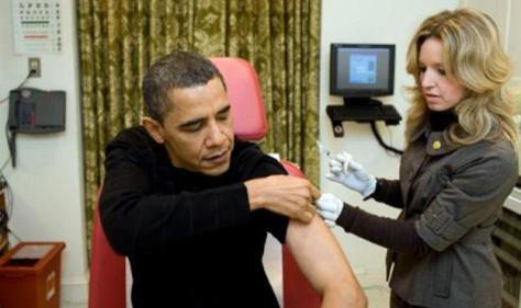 President Obama getting his flu shot.