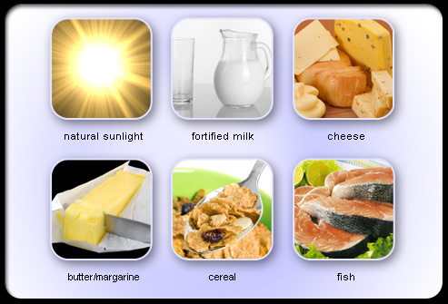 Natural sources of vitamin D.