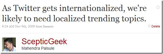 Localized Trending Topics
