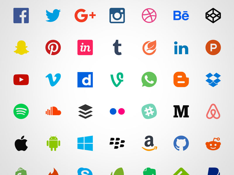 50 Free Flat Social Icons Sketch freebie - Download free resource - apps symbol