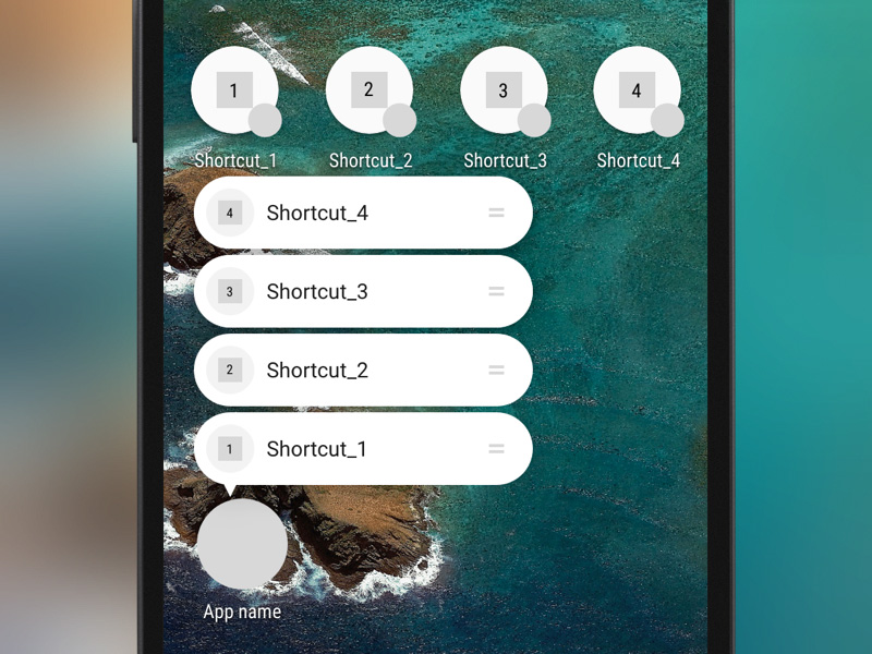 Android-N Shortcuts Template Sketch freebie - Download free resource