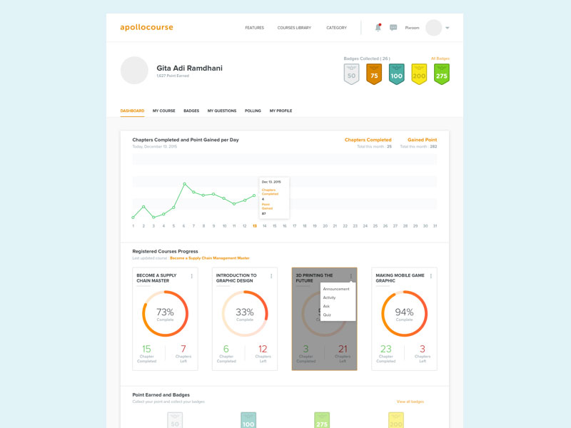 Online Course Dashboard Sketch freebie - Download free resource for