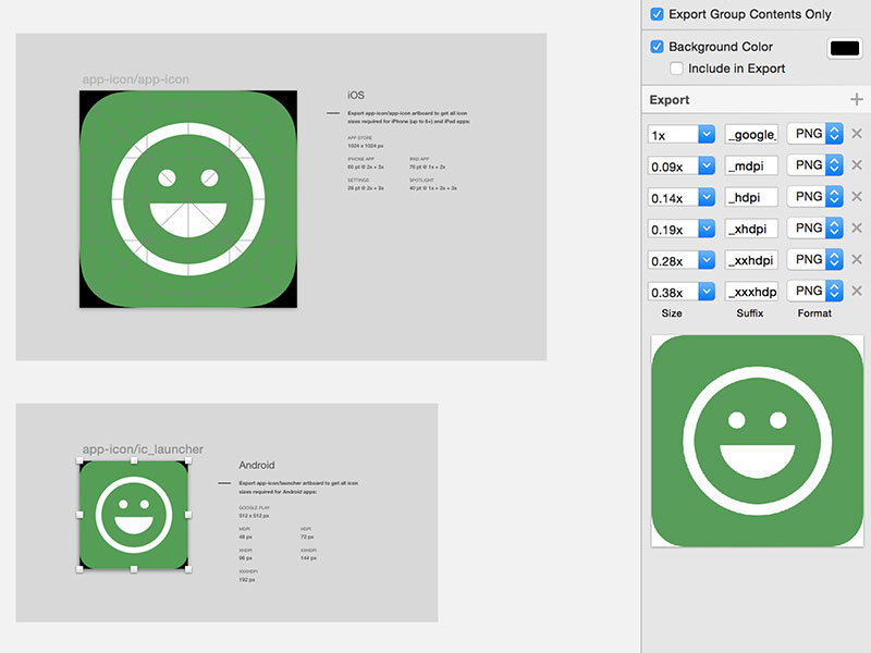 Material Design Icons with Bounds Sketch freebie - Download free - iphone app icon template