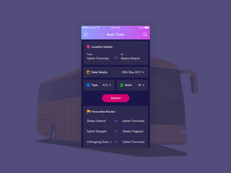 Bus Booking Screen Sketch freebie - Download free resource for - booking app