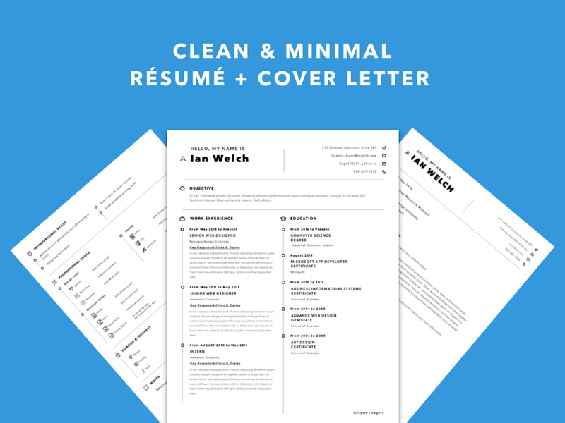 Clean Resume Template Sketch freebie - Download free resource for - clean resume template