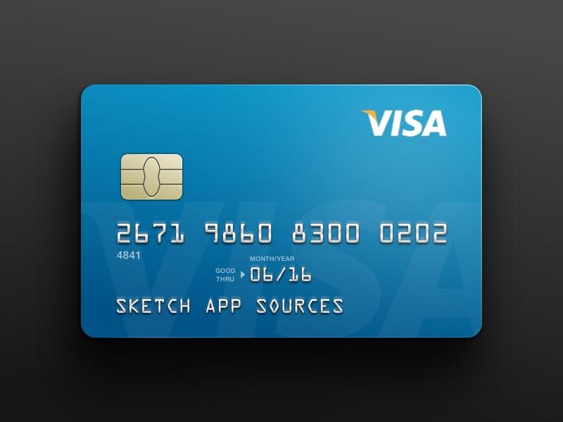 VISA Credit Card Template Sketch freebie - Download free resource