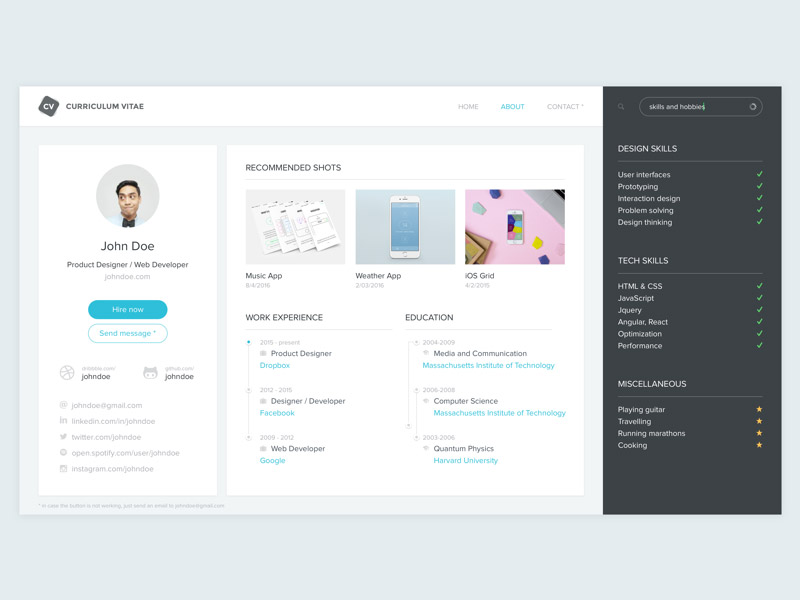 Resume, Curriculum Vitae (CV) Template Sketch freebie - Download