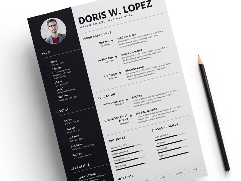 Resume Template Sketch freebie - Download free resource for Sketch - Resume Template App