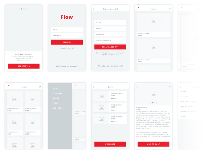 Flow - iOS Wireframe Kit Sketch freebie - Download free resource for - wireframe templates