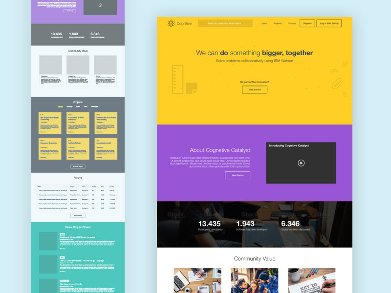 Landing Page Template Sketch freebie - Download free resource for