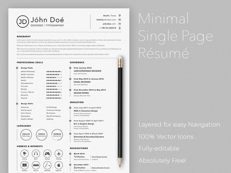 Minimal Single Page Resume Sketch freebie - Download free resource - resume download free