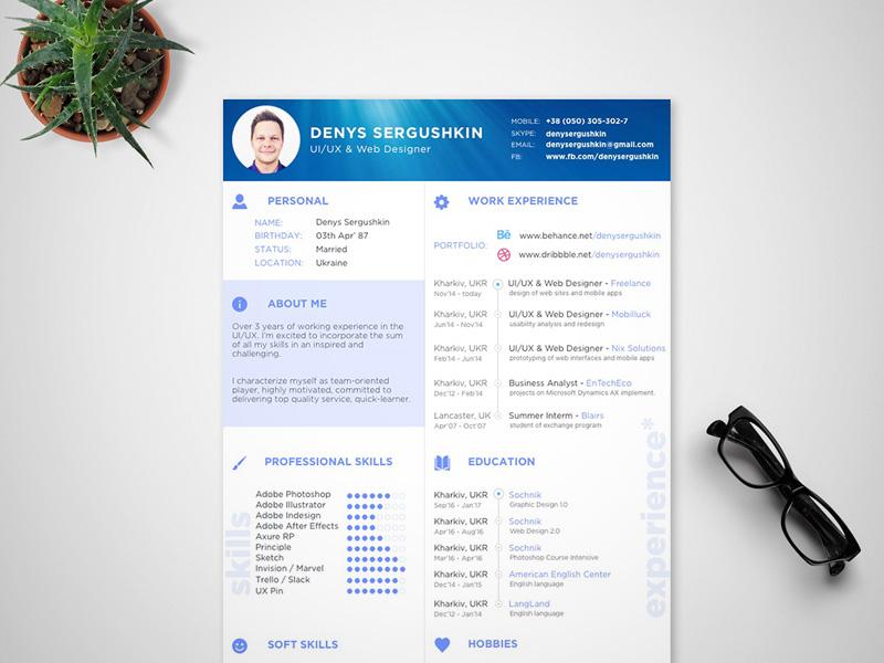 CV Template Sketch freebie - Download free resource for Sketch - website resume template