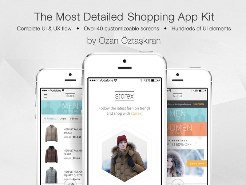 Free Shopping App Template Storex Sketch freebie - Download free - free app template