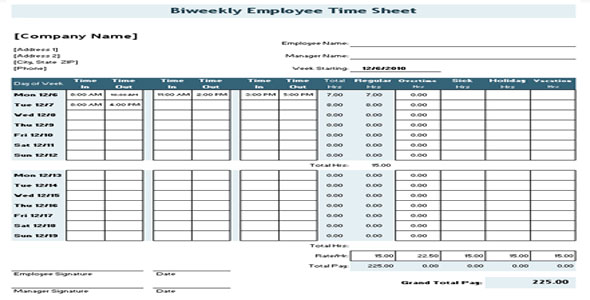 time sheet for general contractor - biweekly time sheet calculator