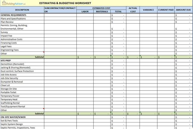 The Building Advisor Estimating and Budgeting Worksheet - remodel calculator spreadsheet