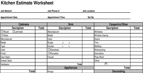 Kitchen Cost Estimate Sheet Kitchen Cost Calculator