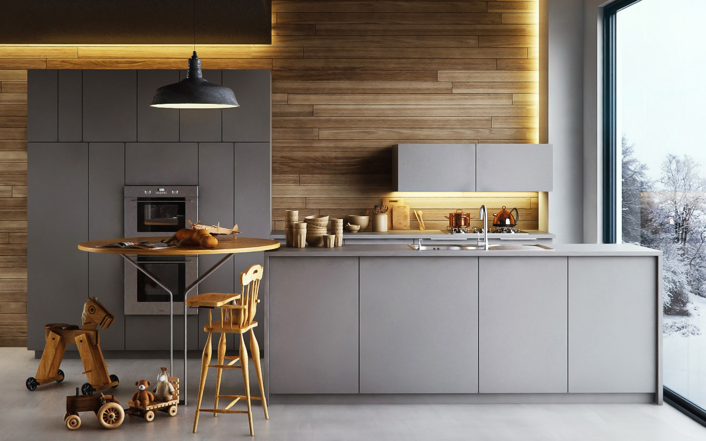 3d Tile Effect Wallpaper 3d Archviz Modern Small Kitchen By Ivan Parra