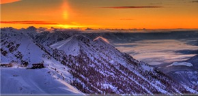 Kicking Horse ski resort, Kicking Horse ski resort sunset, Kicking Horse British Columbia
