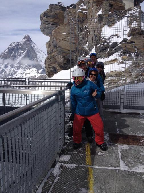 Ski.com-ers tow the line between Italy and Switzerland. It's hard to get a photo in Cervinia without the Matterhorn in it.