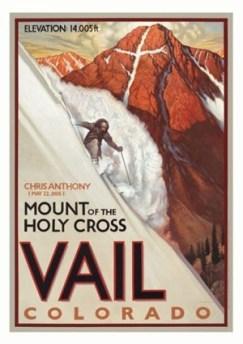 Vail Vintage Ski Poster, Mount Holy Cross Vintage Ski Poster