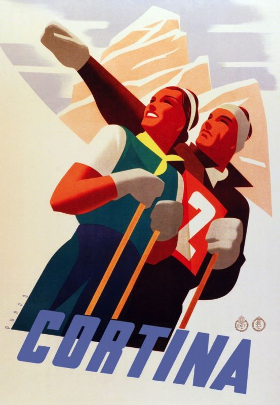 Ski Cortina, Vintage Ski Poster, Cortina Vintage Ski Poster