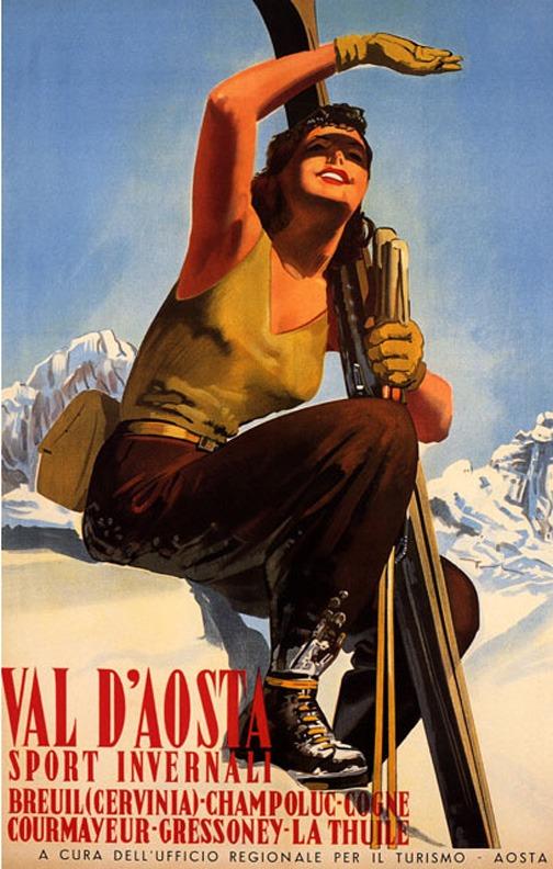 Val D'Aosta Vintage Ski Poster, Vintage Ski Poster