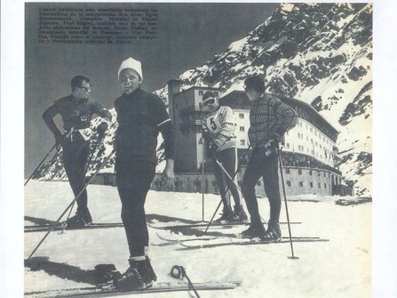 Ski racing champions Egon Zimmermann, Pepi Stigler, Emile Viollat and Guy Perillat | photo: Portillo