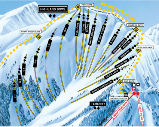 Aspen Highland Bowl trail map