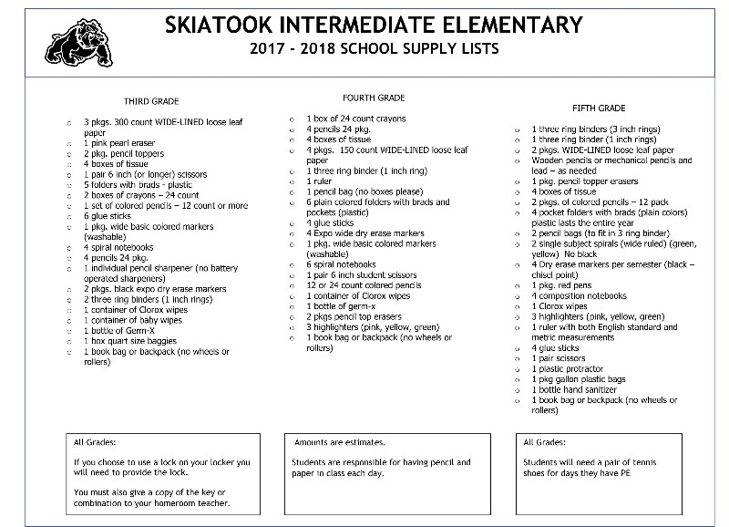 Skiatook Public Schools - School Supply List