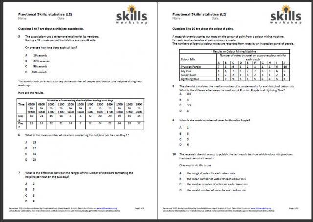 Functional Maths L2 Statistics - multiple choice worksheet Skills - statistics worksheet
