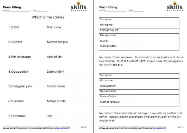 Reepworld Student Links Esol Form Filling Skills Workshop