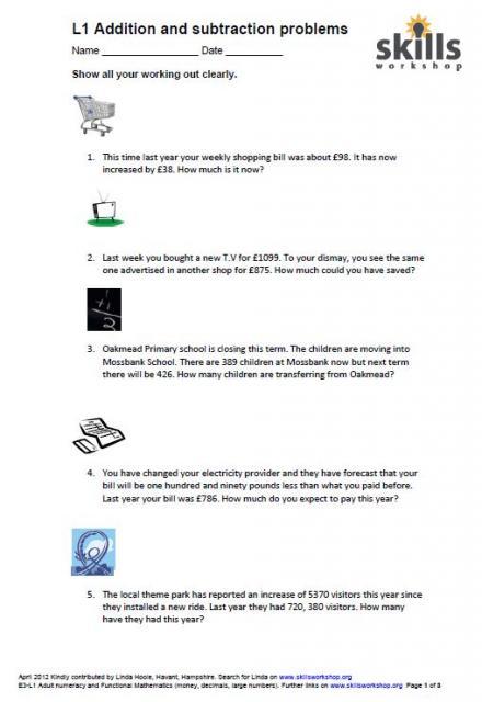 Level 1 addition and subtraction word problems Skills Workshop - sample word problem worksheets