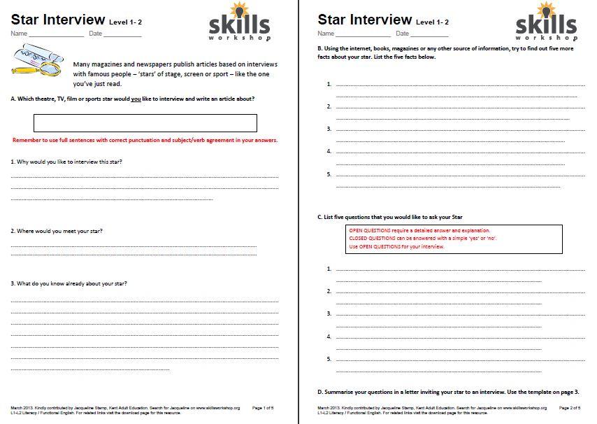 Star Interview worksheets Skills Workshop