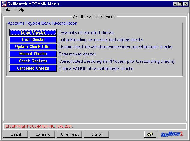 SkilMatch APBANK/APBANK05 Check Register