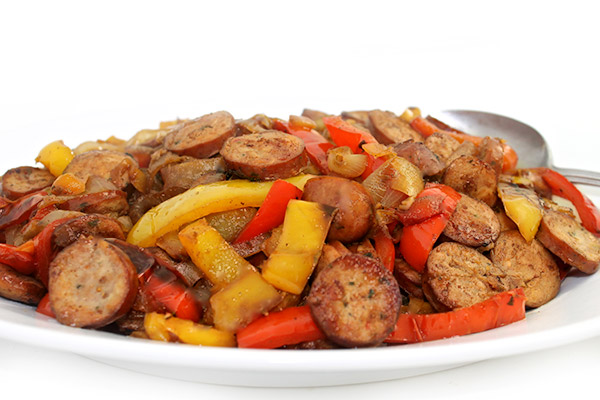 Sausages, Peppers And Onions Made Deliciously Skinny With Weight