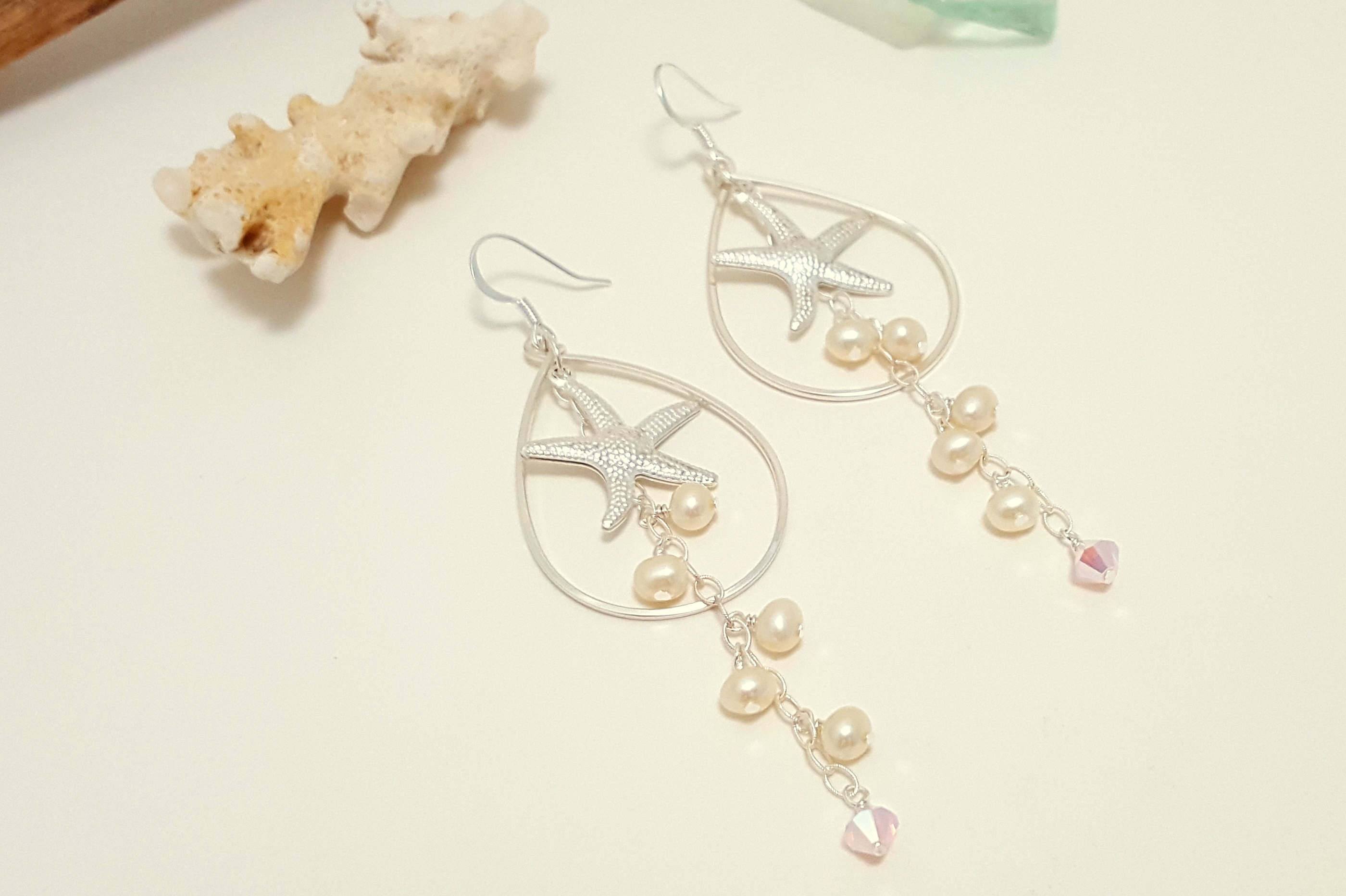 Silver Starfish Freshwater Pearl Earrings And Necklace