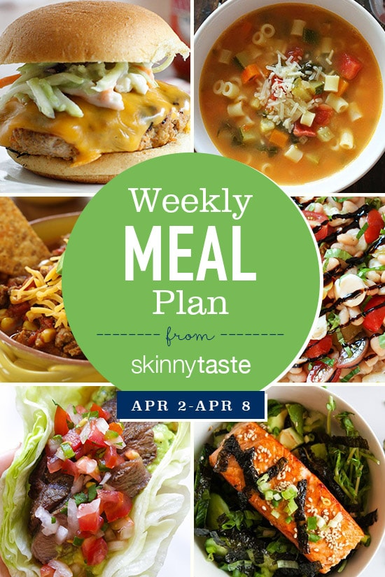 Skinnytaste Meal Plan (April 2-April 8) Skinnytaste - breakfast lunch and dinner meal plan for a week