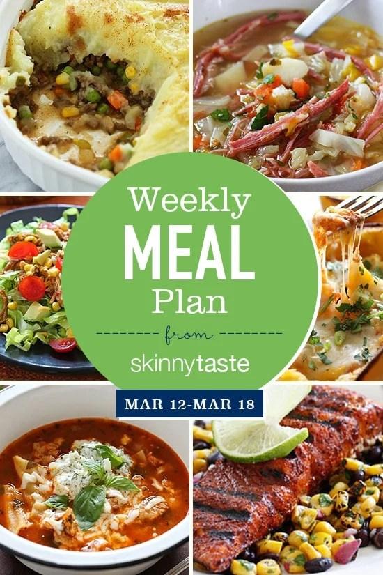 Skinnytaste Meal Plan (March 12-March 18) Skinnytaste - breakfast lunch and dinner meal plan for a week